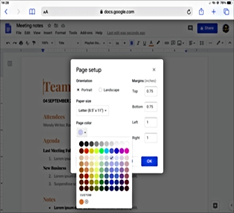 How to Change the Page Color in a Google Docs in iPadOS