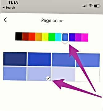 Change the Page Color in a Google Docs in Android and IOS