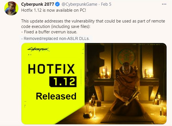 Cyberpunk 2077 Hotfix 1.12 Released
